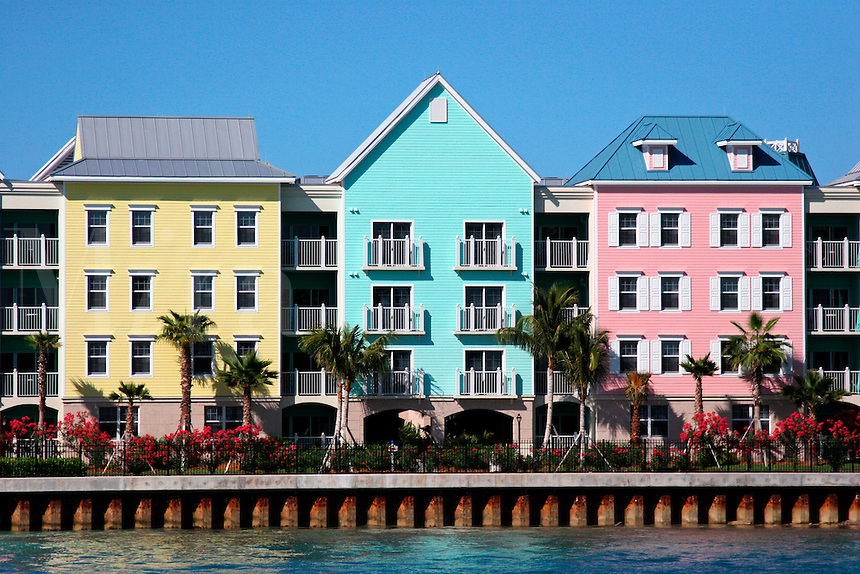 Atlantis Resort condos along Nassau harbour on the island of New Providence in the Bahamas