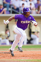 Spencer Ware #2 of the LSU Tigers hustles down the first base line against the Wake Forest Demon Deacons at Alex Box Stadium on February 20, 2011 in Baton Rouge, Louisiana.  The Tigers defeated the Demon Deacons 9-1.  Photo by Brian Westerholt / Four Seam Images