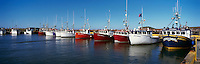 Ile du Havre-Aubert, Iles de la Madeleine, Quebec, Canada - Commercial Fishing Boats docked in Port du Millerand - (Amherst Island, Magdalen Islands) - Panoramic View