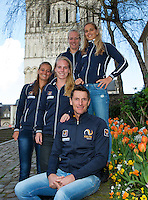 2016, 12 April, Arena Loire, Trélazè,  Semifinal FedCup, France-Netherlands,  Dutch team  ltr: Cindy Burger,  Richel Hogenkamp ,Kiki Bertens, Arantxa Rus and Captain Paul Haarhuis<br /> Photo:Tennisimages/Henk Koster