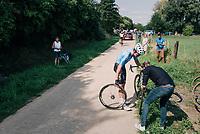 """Wout Van Aert (BEL/Vérandas Willems-Crelan) getting roadside assistance (new wheel) <br /> <br /> Antwerp Port Epic 2018 (formerly """"Schaal Sels"""")<br /> One Day Race:  Antwerp > Antwerp (207 km; of which 32km are cobbles & 30km is gravel/off-road!)"""