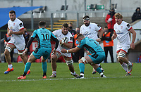 25 October 2020;  Sean Reidyof Ulster in action against Sam Davies (10) and Harrison Keddie (6) of the Dragons during the Guinness PRO14 match between Ulster and Dragons at Kingspan Stadium in Belfast. Photo by John Dickson/Dicksondigital