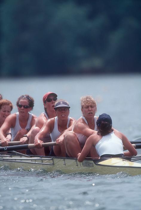 Rowing, 1998 University of Washington women's varsity eight winning the NCAA Collegiate Women's National Championship Regatta, Lake Lanier, Gainsville, Georgia,.