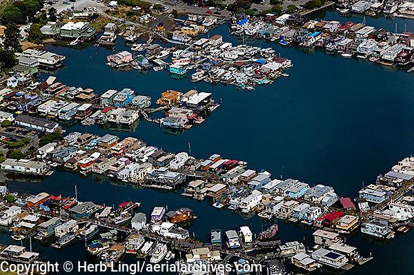 aerial photograph, houseboats Sausalito, Marin County, California