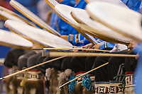 Nagsragmiut Inland Eskimo dancers from the Village of Anaktuvuk Pass dance at the 2008 World Eskimo Indian Olympics held annually in Fairbanks, Alaska. Drums usually made from seal or caribou skin.