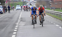 Vincenzo Nibali (ITA/Bahrain-Merida) forced a decisive move after the Kruisberg climb with Niki Terpstra (NED/Quick-Step Floors) following up on that move (and eventually) breaking free from Nibali<br /> <br /> 102nd Ronde van Vlaanderen 2018 (1.UWT)<br /> Antwerpen - Oudenaarde (BEL): 265km