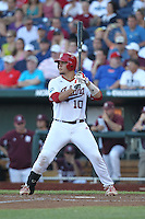 Indiana Hoosiers catcher Kyle Schwarber #10 during Game 6 of the 2013 Men's College World Series between the Indiana Hoosiers and Mississippi State Bulldogs at TD Ameritrade Park on June 17, 2013 in Omaha, Nebraska. (Brace Hemmelgarn/Four Seam Images)