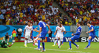 Sokratis Papastathopoulos of Greece (far right) scores a goal to make the score 1-1