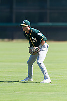 Oakland Athletics third baseman Max Schuemann (45) during an Instructional League game against the Los Angeles Dodgers at Camelback Ranch on September 27, 2018 in Glendale, Arizona. (Zachary Lucy/Four Seam Images)
