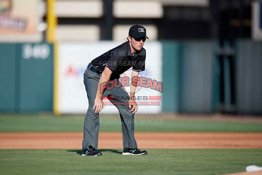 Umpire Tyler Jones during the first game of a doubleheader between the Bradenton Marauders and the Lakeland Flying Tigers on April 11, 2018 at Publix Field at Joker Marchant Stadium in Lakeland, Florida.  Lakeland defeated Bradenton 5-4.  (Mike Janes/Four Seam Images)
