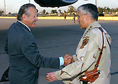 United States Army General George Casey Jr. (right) welcomes US Secretary of Defense Donald H. Rumsfeld to Baghdad, Iraq, on April 26, 2006.  Rumsfeld and US Secretary of State Condoleezza Rice will meet jointly with Iraq's newly designated Prime Minister Jawad al-Maliki.  Rumsfeld will also meet with senior military leaders and troops.  Casey is the commanding general, Multi-National Force, Iraq. <br /> Mandatory Credit: Chad J. McNeeley / DoD via CNP