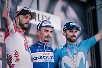 podium:<br /> 1/ Julian Alaphilippe (FRA/Quick Step Floors)<br /> 2/ Alejandro Valverde (ESP/Movistar team)<br /> 3/ Jelle Vanendert (BEL/Lotto-Soudal)<br /> <br /> 82nd Flèche Wallonne 2018 (1.UWT)<br /> 1 Day Race: Seraing - Huy (198km)