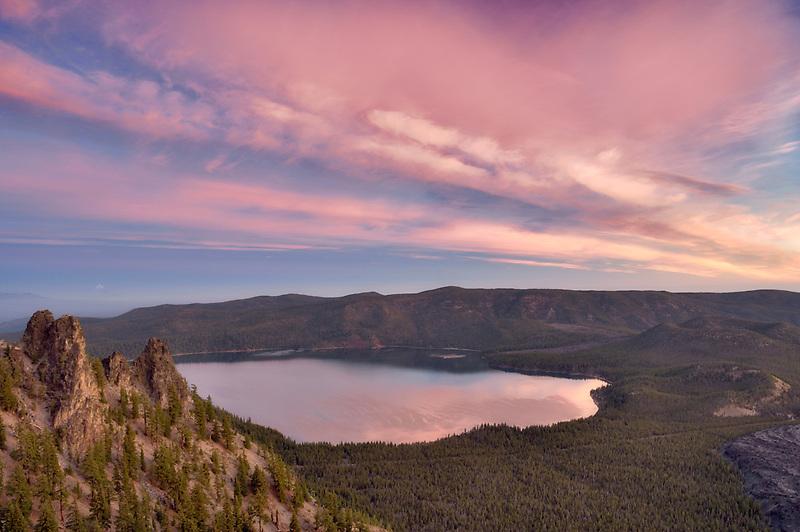 Sunrise from Paulina Peak with Paulina Lake. Newberry National Volcanic Monument. Central Oregon
