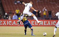 Pepe over Matias Vuoso. Real Madrid defeated Club America 3-2 at Candlestick Park in San Francisco, California on August 4th, 2010.