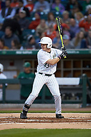 Austin Lynch (45) of the Charlotte 49ers at bat against the Clemson Tigers at BB&T BallPark on March 26, 2019 in Charlotte, North Carolina. The Tigers defeated the 49ers 8-5. (Brian Westerholt/Four Seam Images)