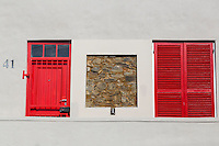 South Africa, Cape Town, Bo-kaap.  Cut-away in a House Wall, Showing Original Stone Construction.