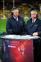 Skysports commentators Sean Fitzpatrick and Ian McGeechan during the 2017 DHL Lions Series rugby match between the Hurricanes and British & Irish Lions at Westpac Stadium in Wellington, New Zealand on Tuesday, 27 June 2017. Photo: Dave Lintott / lintottphoto.co.nz