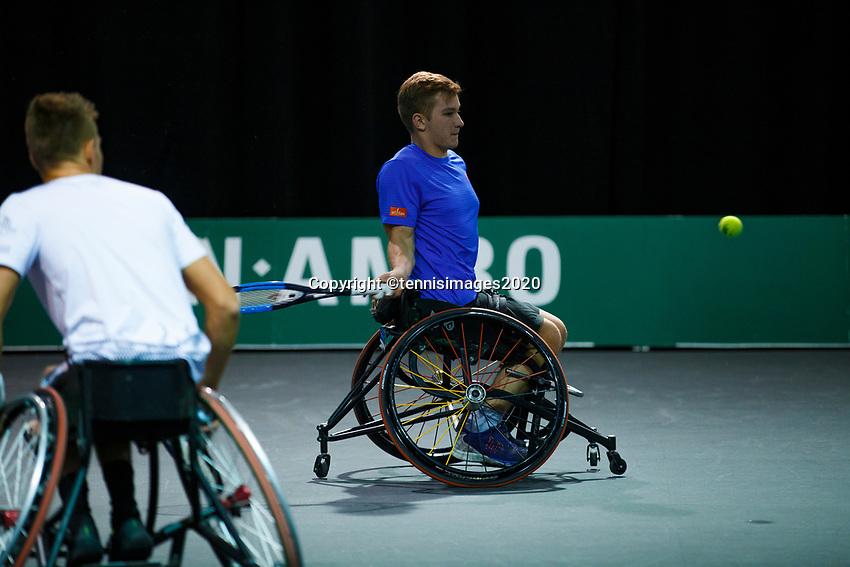 Rotterdam, The Netherlands, 11 Februari 2020, ABNAMRO World Tennis Tournament, Ahoy, <br /> Wheelchair tennis: Ruben Spaargaren (NED) / Jef Vandorpe (BEL).<br /> Photo: www.tennisimages.com