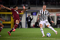 Ricardo Rodriguez of Torino Calcio and Federico Bernardeschi of Juventus FC compete for the ball during the Serie A 2021/2022 football match between Torino FC and Juventus FC at Stadio Olimpico Grande Torino in Turin (Italy), October 2nd, 2021. Photo Federico Tardito / Insidefoto