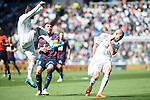 Real Madrid's Nacho and Pepe and Sociedad Deportiva Eibar's Antonio Luna during La Liga match. April 09, 2016. (ALTERPHOTOS/Borja B.Hojas)