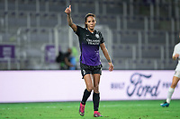 ORLANDO, FL - SEPTEMBER 11: Sydney Leroux #2 of the Orlando Pride calls for the ball during a game between Racing Louisville FC and Orlando Pride at Exploria Stadium on September 11, 2021 in Orlando, Florida.