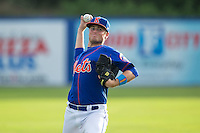 Chase Ingram (18) of the Kingsport Mets warms up in the outfield prior to the game against the Elizabethton Twins at Hunter Wright Stadium on July 8, 2015 in Kingsport, Tennessee.  The Mets defeated the Twins 8-2. (Brian Westerholt/Four Seam Images)