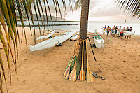 A team of paddlers carry an outrigger canoe up the beach, Hale'iwa Beach Park, O'ahu.