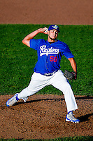 Willian Soto (50) of the Ogden Raptors delivers a pitch to the plate against the Missoula Osprey in Pioneer League action at Lindquist Field on July 14, 2016 in Ogden, Utah. Ogden defeated Missoula 10-4. (Stephen Smith/Four Seam Images)