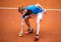 Den Bosch, The Netherlands, April 17, 2021,    Maaspoort, Billie Jean King Cup  Netherlands -  China , ballboy with facemask<br /> Photo: Tennisimages/Henk Koster