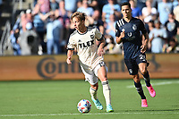 KANSAS CITY, KS - JUNE 26: Bryce Duke #19 Los Angeles FC with the ball during a game between Los Angeles FC and Sporting Kansas City at Children's Mercy Park on June 26, 2021 in Kansas City, Kansas.