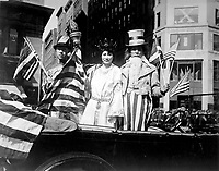 Chinese Day in the Fourth Liberty Loan Campaign was appropriately celebrated.  One of the features of the Chinese Parade is shown.  China, Liberty, and Uncle Sam united.   October 1, 1918.   Underwood & Underwood.   (War Dept.)<br /> NARA FILE #:  165-WW-235D-3<br /> WAR & CONFLICT BOOK #:  510