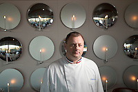 Philippe Jégo, Michelin-starred head chef of restaurant 'Les Pêcheurs' at the Cap d'Antibes Beach Hotel, poses for the photographer in the restaurant, Antibes, France, 26 April 2012. Philippe was awarded 'Meilleur Ouvrier de France' in 2000.