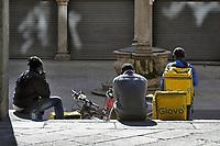 - Milan, riders in Merchants square<br /> <br /> - Milano, riders in piazza Mercanti