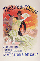 Reproduction of a Poster Advertising the 1896 Carnival at the Theatre de l'Opera, 15th February 1896 (litho), Cheret, Jules (1836-1932)
