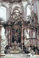 Interior of The Basilica of the Fourteen Holy Helpers, a church located near the town of Bad Staffelstein near Bamberg, in Bavaria, southern Germany. The late Baroque-Rococo basilica, designed by Balthasar Neumann, was constructed between 1743 and 1772.