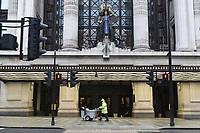 A view of the Selfridges store on Oxford Street. The deserted streets and shops show the severe effects of the COVID-19 epidemic on London on the morning of 19th March 2020