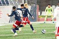 FOXBOROUGH, MA - OCTOBER 16: Connor Presley #7 of New England Revolution II takes a shot on goal during a game between North Texas SC and New England Revolution II at Gillette Stadium on October 16, 2020 in Foxborough, Massachusetts.