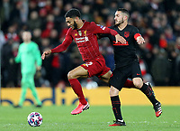 Liverpool's Joe Gomez under pressure from Atletico Madrid's Koke<br /> <br /> Photographer Rich Linley/CameraSport<br /> <br /> UEFA Champions League Round of 16 Second Leg - Liverpool v Atletico Madrid - Wednesday 11th March 2020 - Anfield - Liverpool<br />  <br /> World Copyright © 2020 CameraSport. All rights reserved. 43 Linden Ave. Countesthorpe. Leicester. England. LE8 5PG - Tel: +44 (0) 116 277 4147 - admin@camerasport.com - www.camerasport.com