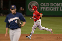 Los Angeles Angels third baseman Zach Houchins (39) during a Minor League Spring Training game against the Milwaukee Brewers at Tempe Diablo Stadium on March 29, 2018 in Tempe, Arizona. (Zachary Lucy/Four Seam Images)