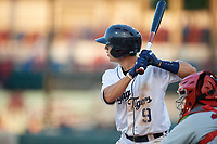 Lakeland Flying Tigers Cole Peterson (9) at bat during a Florida State League game against the Palm Beach Cardinals on April 17, 2019 at Publix Field at Joker Marchant Stadium in Lakeland, Florida.  Lakeland defeated Palm Beach 1-0.  (Mike Janes/Four Seam Images)