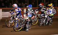 Heat 3: Richard Lawson (blue), Rory Schlein (white), Scott Nicholls (yellow) and Mikkel Bech (red) - Lakeside Hammers v Rico's All Stars, The Rico Spring Classic at the Arena Essex Raceway, Pufleet - 20/03/15 - MANDATORY CREDIT: Rob Newell/TGSPHOTO - Self billing applies where appropriate - 0845 094 6026 - contact@tgsphoto.co.uk - NO UNPAID USE