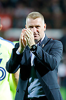 Dean Smith manager of Brentford seen during the Sky Bet Championship match between Brentford and Derby County at Griffin Park, London, England on 26 September 2017. Photo by Carlton Myrie / PRiME Media Images.