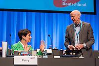 """5. Bundesparteitag der rechtspopulistischen Partei """"Alternative fuer Deutschland"""", AfD, in Stuttgart.<br /> Die Partei will auf dem Parteitag ein Parteiprogramm beschliessen.<br /> Im Bild vlnr.: Die Parteivorsitzende Frauke Petry und Albrecht Glaser, AfD-Kandidat zur Wahl des Bundespraesidenten. Der stellvertretende AfD-Sprecher Glaser ist ehemaliges CDU-Mitglied und war als Stadtkaemmerer in Frankfurt verwickelt in umstrittene Fondgeschaefte.<br /> 30.4.2016, Stuttgart<br /> Copyright: Christian-Ditsch.de<br /> [Inhaltsveraendernde Manipulation des Fotos nur nach ausdruecklicher Genehmigung des Fotografen. Vereinbarungen ueber Abtretung von Persoenlichkeitsrechten/Model Release der abgebildeten Person/Personen liegen nicht vor. NO MODEL RELEASE! Nur fuer Redaktionelle Zwecke. Don't publish without copyright Christian-Ditsch.de, Veroeffentlichung nur mit Fotografennennung, sowie gegen Honorar, MwSt. und Beleg. Konto: I N G - D i B a, IBAN DE58500105175400192269, BIC INGDDEFFXXX, Kontakt: post@christian-ditsch.de<br /> Bei der Bearbeitung der Dateiinformationen darf die Urheberkennzeichnung in den EXIF- und  IPTC-Daten nicht entfernt werden, diese sind in digitalen Medien nach §95c UrhG rechtlich geschuetzt. Der Urhebervermerk wird gemaess §13 UrhG verlangt.]"""