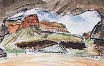 Grand Canyon National Park, Hermit Camp, watercolor and charcoal, Journal Art 2009,