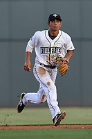 Shortstop Andres Gimenez (13) of the Columbia Fireflies plays defense in game one of a doubleheader against the Rome Braves on Saturday, August 19, 2017, at Spirit Communications Park in Columbia, South Carolina. Rome won, 8-2. (Tom Priddy/Four Seam Images)