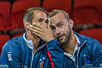 The Hague, The Netherlands, September 13, 2017,  Sportcampus , Davis Cup Netherlands - Chech Republic, Draw, Lucas Rosol talking to Roman Jabavy (CZE)<br /> Photo: Tennisimages/Henk Koster