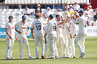 Sam Cook of Essex celebrates with his team mates after taking the wicket of Tom Lace during Essex CCC vs Gloucestershire CCC, LV Insurance County Championship Division 2 Cricket at The Cloudfm County Ground on 7th September 2021