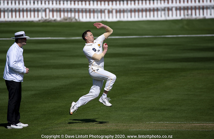 Ollie Newton bowls during day four of the Plunket Shield match between the Wellington Firebirds and Canterbury at Basin Reserve in Wellington, New Zealand on Thursday, 22 October 2020. Photo: Dave Lintott / lintottphoto.co.nz