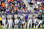 TCU Horned Frogs  in action during the game between the Oklahoma State Cowboys and the TCU Horned Frogs at the Amon G. Carter Stadium in Fort Worth, Texas.
