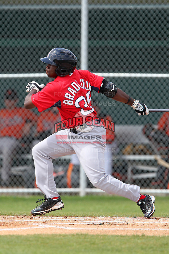 Boston Red Sox outfielder Jackie Bradley Jr #35 during a minor league spring training game against the Baltimore Orioles at the Buck O'Neil Complex on March 23, 2012 in Sarasota, Florida.  (Mike Janes/Four Seam Images)